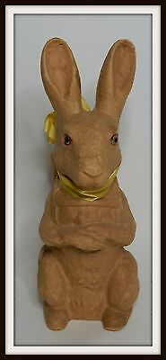 Early Old Paper Mache Rabbit Bunny Candy Container Easter Toy Glass Eyes   q