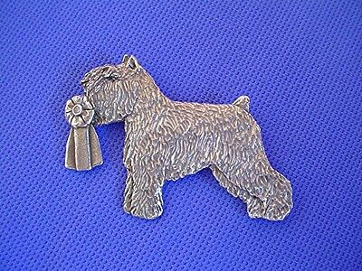 Bouvier des Flandres with Rosette pin #43H Pewter Dog Jewelry by Cindy A. Conter