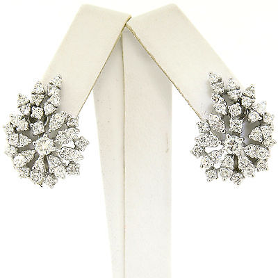 Vintage 14K White Gold 2.28ctw Brilliant Diamond Flame Cluster Cocktail Earrings