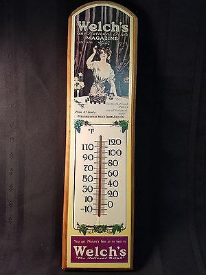 """Vintage Welch's Thermometer - 18"""", Wall Hanging, Purple Grapes"""