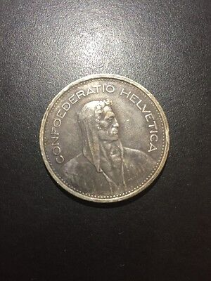 1953 B Switzerland 5 Franc Silver Coin Free S/H