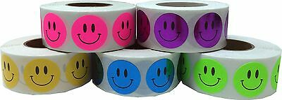 Happy Face Dot Stickers, 3/4 Inch Round Labels, 500 on a Roll, 20 Color Choices