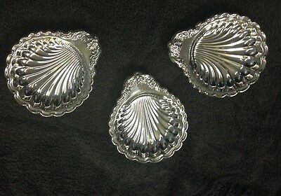 Antique Footed Silverplate Scallop Mini Trays