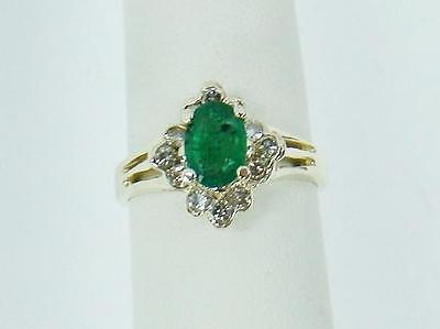14K Yellow Gold Ring Oval Cut .85 Ct. Genuine Emerald .25 Cttw Diamond Size 7