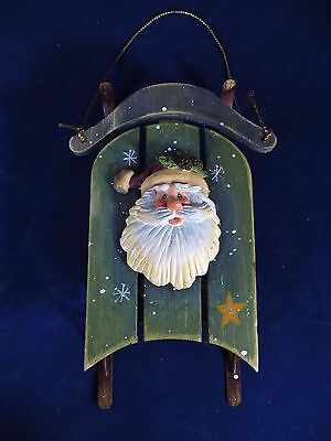 "Christmas Ornament wooden sled sleigh with Santa   5 3/4"" long  VERY CUTE"