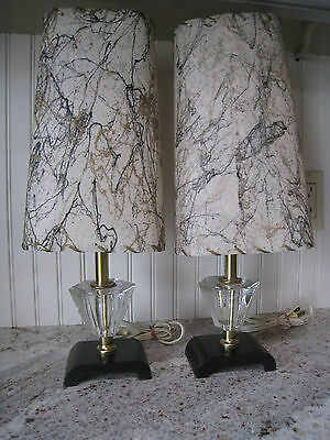 Vintage, Retro, Pair of Wonderful Table Lamps, Accent Lamps, Fiberglass Shades