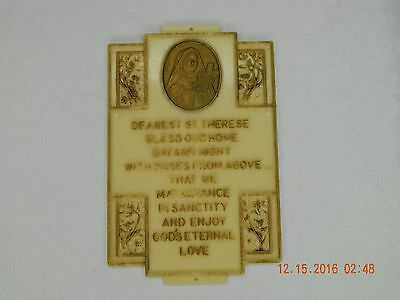 """Vintage St. Therese Prayer Plaque For Home ca. 1962 - 4"""" x 2.5""""!"""