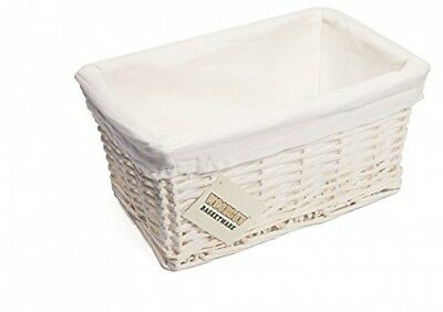 WoodLuv Small Wicker Storage Basket With Lining, White
