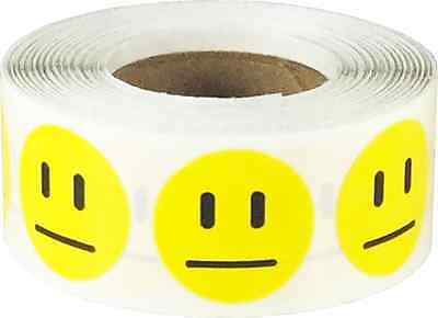 Yellow Serious Face Circle Dot Stickers, 3/4 Inch Round Labels, 500 on a Roll