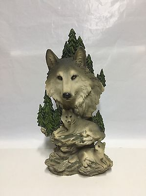 Wolfpack Statue Wolves Mountain Scene Sculpture Wolf Family Figures
