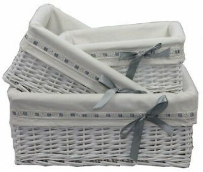 1 X Medium Woodluv Rectangular White Willow Wicker Hamper Storage Basket-With )