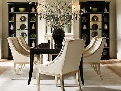 KENDALL - 7pcs Contemporary Black Rectangular Dining Room Table & Chairs Set