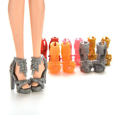 10Pairs Doll Shoes High Heel Sandals for Barbie Doll Princess Color Random bos