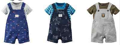 NEW Boy's Carters Short Set Overalls  Three Sets for Price of ONE!Size 6 months