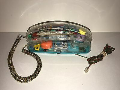 Unisonic Phone Works Clear See Through Corded Touch Tone 1980's