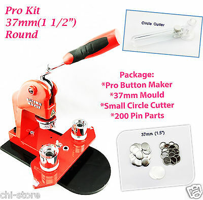 """37mm(1 1/2"""") New Pro Button Maker - S1 + Mould + 200 pinParts + Circle Cutter"""