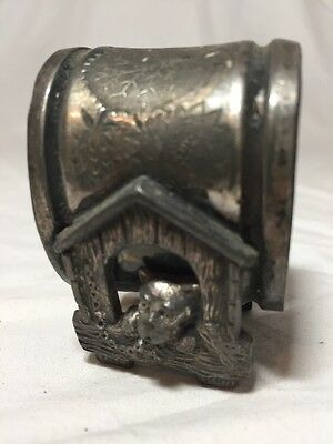 Bull Dog House Figural Antique Victorian Napkin Ring Vtg. Old Silverplate