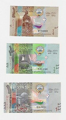 KUWAIT 1/4 1/2 1 DINAR 2014 NEW UNC SET LOT (3 Note Set FREE US SHIPPING)