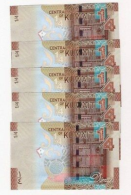 KUWAIT 1/4 DINAR 2014 NEW UNC 5 Sequential Notes (FREE US SHIPPING)