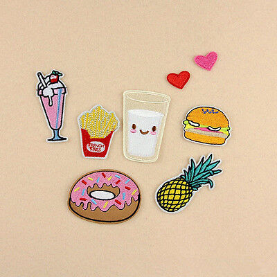 8Pcs Fruit Donuts Embroidery Sew Iron On Patch Badge Bag Clothes Fabric Applique