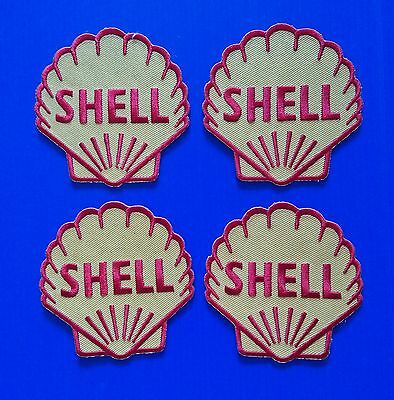 4 LOT SHELL GAS OIL Embrodered Iron Or Sewn On Patches Free Ship