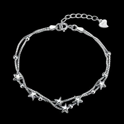 New Women's 925 Sterling Silver Bangle Jewelry White Gold Plated Star Bracelets