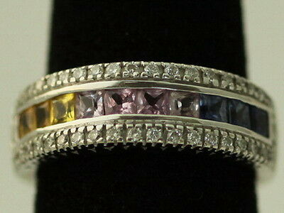 Multi Color Sapphire and Diamond Cocktail Right Hand Ring Band