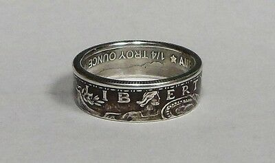 .999 SILVER  ROUND COIN RING sizes 4 -12 ANTIQUE FINISH