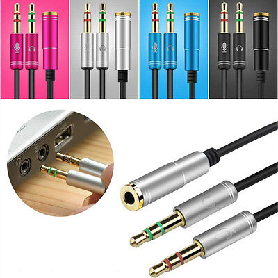 3.5mm Audio Mic Y Splitter Cable Headphone Adapter Female to 2 Stereo Male NEW