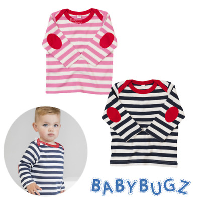 Baby Stripy Long Sleeve T-Shirt Cute Top Elbow Patches 100% Soft Cotton Boy Girl