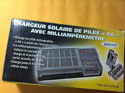 solar AA battery charger with meter-weather resistant