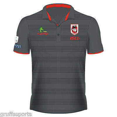 St George Illawarra Dragons 2017 Hooped Players Polo Shirt Sizes S - 5XL NRL ISC