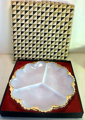 Vintage Anchor Hocking W898-G Divided Serving Plate in Box, Milk Glass (4745)
