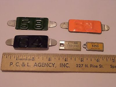 3 Maine License Plate Tags 58,61 & 64 & 2 Mini Keychain Stye Disabled Vets Tag