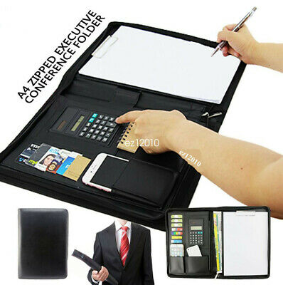 A4 Business Card Folder Folio Organiser Portfolio PU Leather Zippered Clipboard
