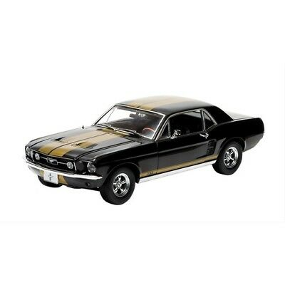 1967 Ford Mustang Gt 1:18 Diecast Model Glc12897 Black With Gold Stripes