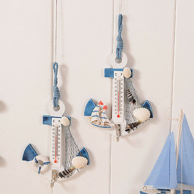 Anchor Thermometer Home Wall Hanging Decor Ornament Figurine Fish Net Shell