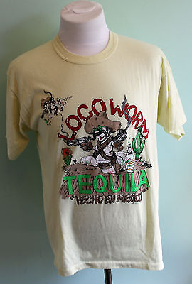 Vintage 80's Loco Worm Tequila THIN T Shirt Size XL Made in Canada