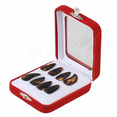 8piece Professional Plastic Small Size Gu Zheng Nails with Groove Brown Yellow