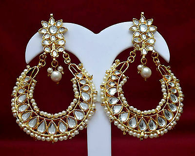 Wedding Fashion Jewelry Indian Earrings Gold Plated Dangle Pearl Earrings f6e61