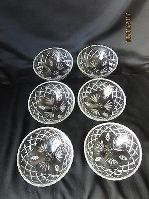 Beautiful Vintage set of 6 Cut Glass Footed Bowls