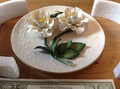 Franklin Mint The White Roses Of Capodimonte Plate Boxed with Certificate.
