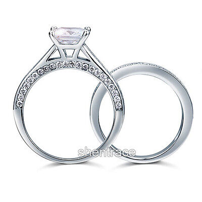 STERLING SILVER 925 Simulated Diamond Engagement Wedding 2 Ring Set Size 9 R