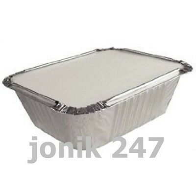 100 Pairs Allumunium Foil Tray Containers 145mmx195mmx50mm with lids 200pieces