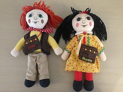 "Rosie and Jim 10"" Soft Toys 1993 Complete VGC FREE U.K Post"
