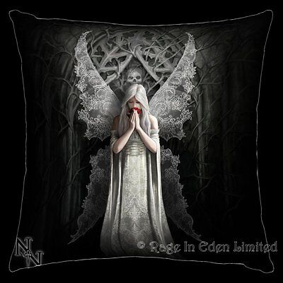 *ONLY LOVE REMAINS* Goth Fantasy Angel Skull Art Black Cushion By Anne Stokes