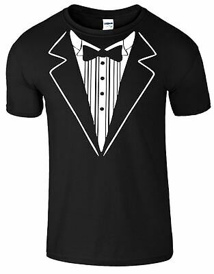 Tuxedo Suit and Bow Tie Funny fancy Dress Gift Wedding Stag Casual Wear Tshirt