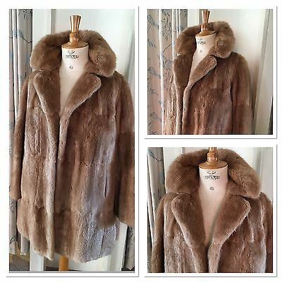 ***ladies Dark Blonde Musquash Real Fur Lined Coat Size Medium/large***