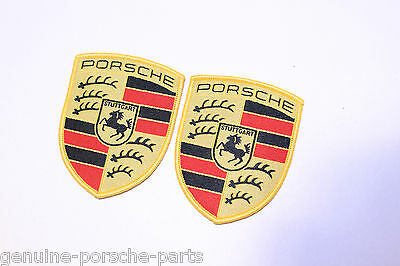 Pair of Genuine Porsche Colour Crested Sew-On Fabric Badges - WAP10706714 - New