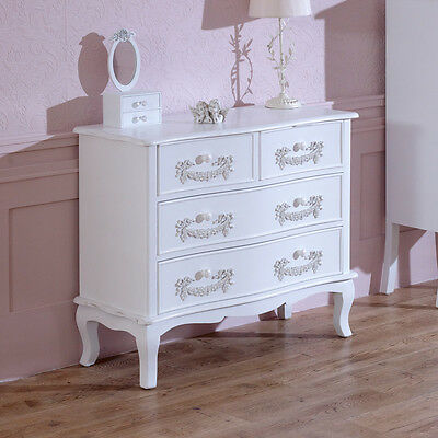White Wooden Chest of Drawers Storage Unit Shabby French Chic Bedroom Furniture